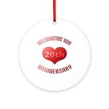 20th Anniversary Heart Gift Ornament (Round)