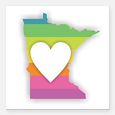 "Minnesota Rainbow Heart Square Car Magnet 3"" x 3"""