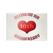 10th Anniversary Heart Gift Rectangle Magnet (10 p