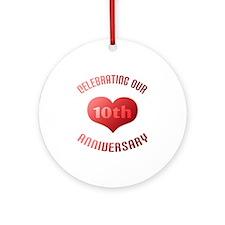 10th Anniversary Heart Gift Ornament (Round)