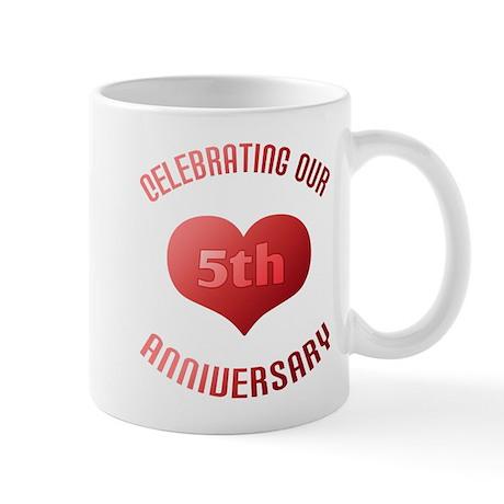 5th Anniversary Heart Gift Mug