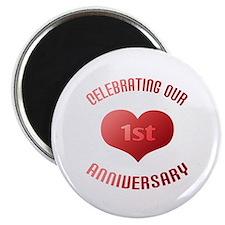 """1st Anniversary Heart Gift 2.25"""" Magnet (10 pack)"""