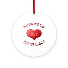 1st Anniversary Heart Gift Ornament (Round)