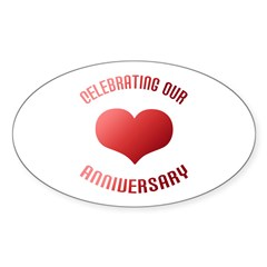 Anniversary Heart Gift Oval Decal