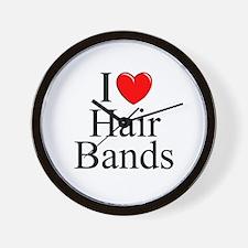 """I Love (Heart) Hair Bands"" Wall Clock"