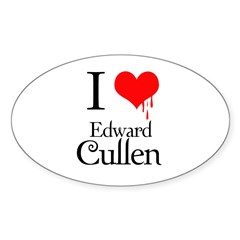 I Love Edward Cullen Oval Decal