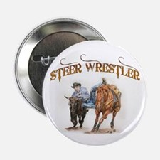 "Steer Wrestler 2.25"" Button"