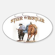 Steer Wrestler Oval Sticker (10 pk)