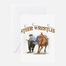 Steer Wrestler Greeting Card
