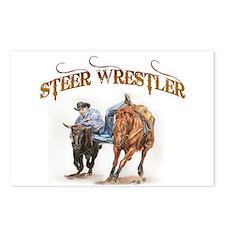 Steer Wrestler Postcards (Package of 8)
