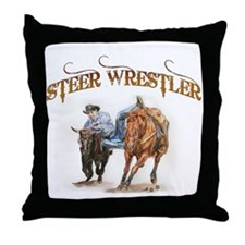 Steer Wrestler Throw Pillow