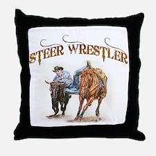 Steer Wrestler Throw Pillow