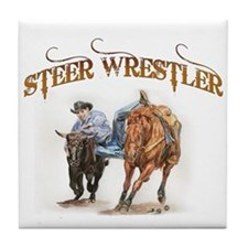 Steer Wrestler Tile Coaster
