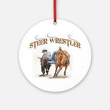 Steer Wrestler Ornament (Round)