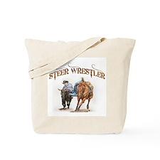 Steer Wrestler Tote Bag