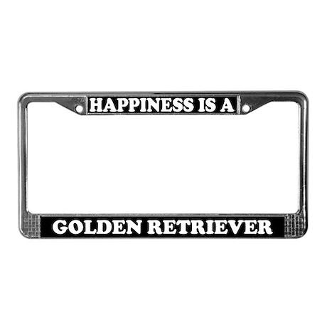 Happiness Golden Retriever License Plate Frame