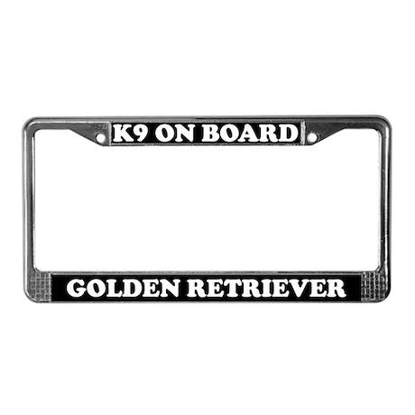 K9 On Board Golden Retriever License Plate Frame