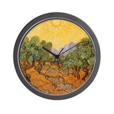 Van Gogh Olive Trees Yellow Sky And Sun Wall Clock