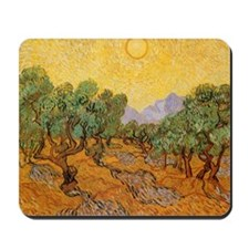 Van Gogh Olive Trees Yellow Sky And Sun Mousepad