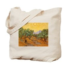Van Gogh Olive Trees Yellow Sky And Sun Tote Bag
