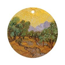 Van Gogh Olive Trees Yellow Sky And Sun Ornament (