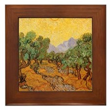 Van Gogh Olive Trees Yellow Sky And Sun Framed Til