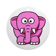 Even Cuter Pink Elephant Ornament (Round)