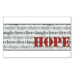 HOPE Inspirational Collage (red) Sticker (Rectngl)