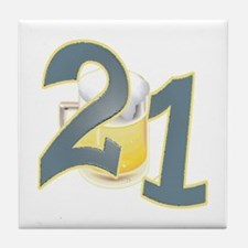 21st B-day Beer Tile Coaster