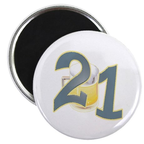 "21st B-day Beer 2.25"" Magnet (10 pack)"