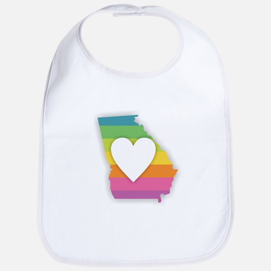 Georgia Rainbow Heart Baby Bib