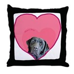 Black Lab Heart Dog Throw Pillow