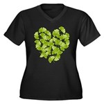 Ginkgo Leaf Heart Women's Plus Size V-Neck Dark T-