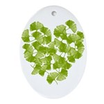Ginkgo Leaf Heart Oval Ornament