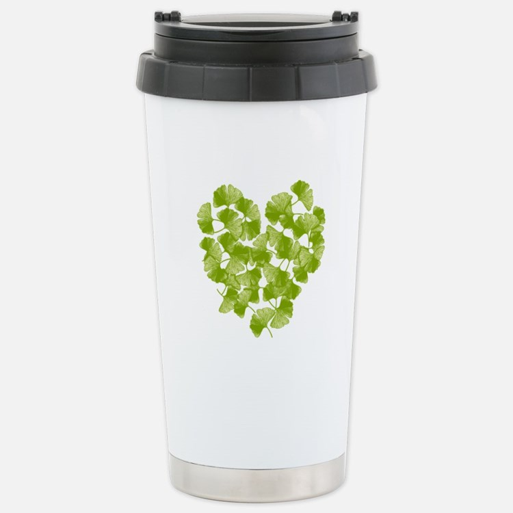 Ginkgo Leaf Heart Stainless Steel Travel Mug