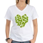 Ginkgo Leaf Heart Women's V-Neck T-Shirt