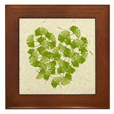 Ginkgo Leaf Heart Framed Tile