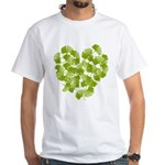 Ginkgo Leaf Heart White T-Shirt