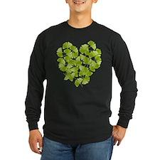 Ginkgo Leaf Heart Long Sleeve Dark T-Shirt