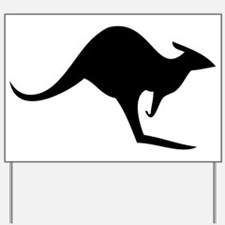 australian kangaroo black log Yard Sign