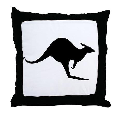 australian kangaroo black log Throw Pillow