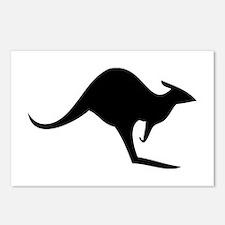 australian kangaroo black log Postcards (Package o