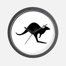 australian kangaroo black log Wall Clock