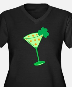 Shamrock Martini Women's Plus Size V-Neck Dark T-S