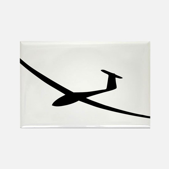 black glider logo sailplane Rectangle Magnet