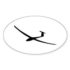 black glider logo sailplane Oval Decal