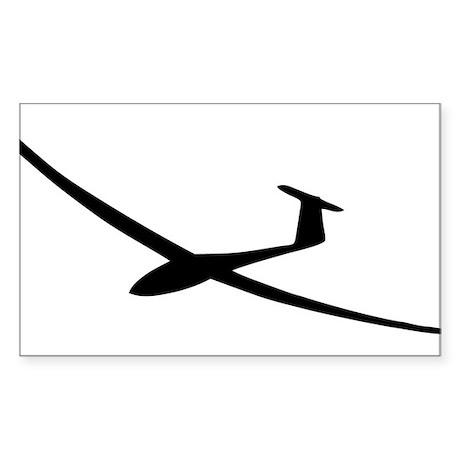 black glider logo sailplane Rectangle Sticker