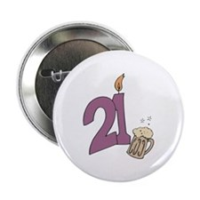 "21st Bday Beer 2.25"" Button"