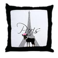 Le petit chien à Paris Throw Pillow