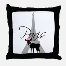 Le petit chien à Paris Throw Pillow